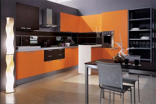 Поръчка на мебели в оранжево луксозна